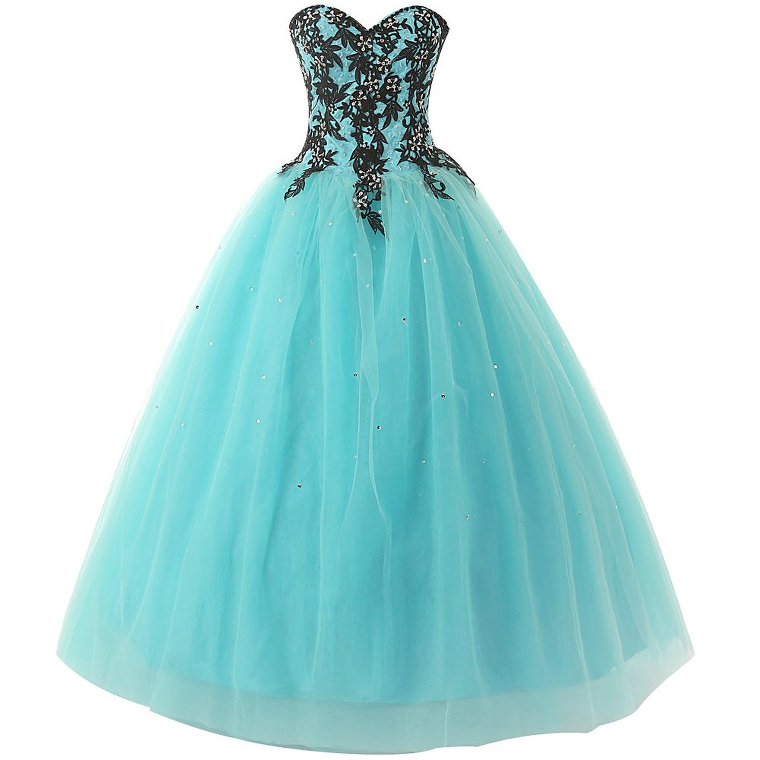 Kissbridal Women S Appliques Tulle Ball Evening Gown Prom