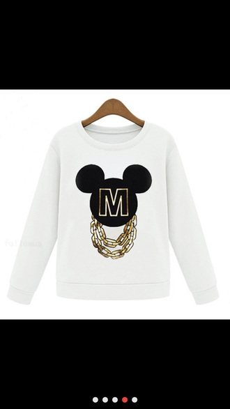 top white top mickey mouse hoodies gold chain