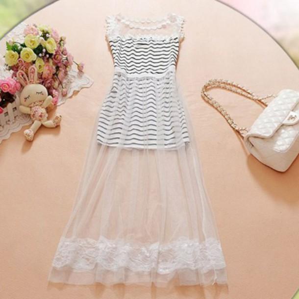 dress black and white dress lace