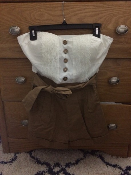 romper khaki white 5 buttons french lace