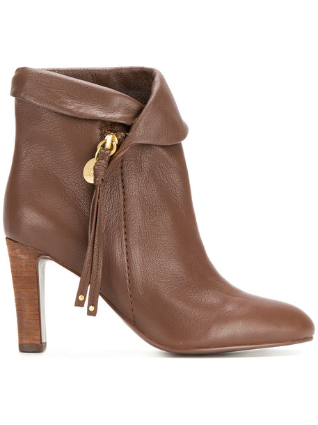 See by Chloe women ankle boots leather brown shoes