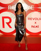 dress,teyana taylor,maxi dress,metallic,silver dress,silver,celebrity