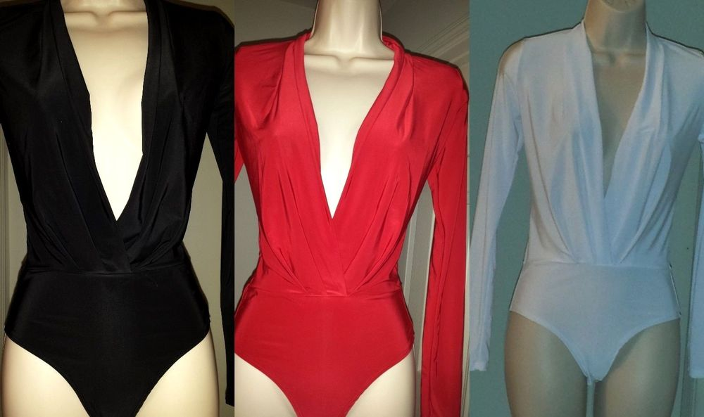 Women Black Red White Plunging Neckline Long Sleeve Bodysuit ... 97189a8349f6