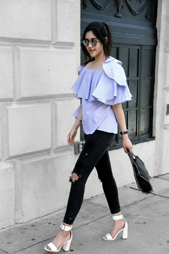 florencia r flo loves clothes blogger top jeans shoes jewels bag sunglasses blue off shoulder top blue top ruffle ruffled top black bag stella mccartney black ripped jeans ripped jeans black jeans thick heel block heels sandals sandal heels high heel sandals white sandals