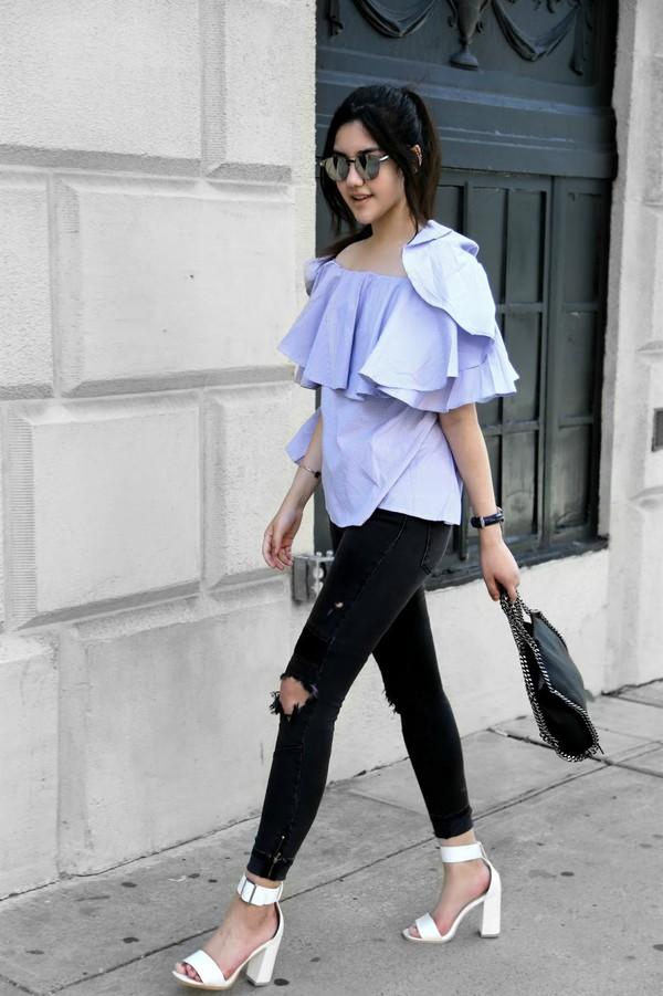 33bd50a005f4 florencia r flo loves clothes blogger top jeans shoes jewels bag sunglasses blue  off shoulder top