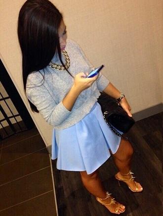 skirt summer summer skrt blue baby blue style sweater jewels shoes bag