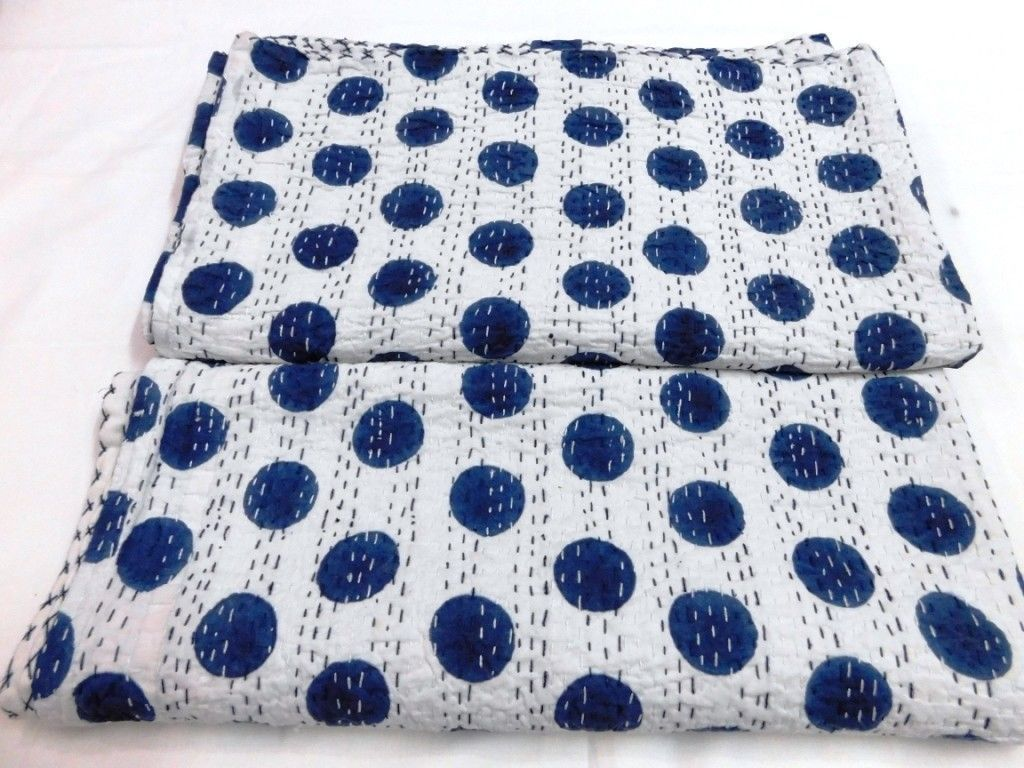 Blue polka dot kantha quilt queen kantha bedding bohemian kantha blanket throw