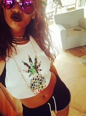 shirt,clothes,shorts,jewelery,ananas shirt,ananas blouse,blouse,glasses,sunglasses,mouth,skin,hair,hat,body,tummy,tumblr,tumblr shorts,tumblr shirt,selfie,rihanna,gold jewelry,ananas,white blouse,tank top,celebrity style,celebrity,t-shirt,style,420,pineapple print,pineapple tank,spring outfits,spring,trendy,ririr,fashion,black lips,black lip stick,top,weed,weed shirt,stoner,canabis,floral tank top,florsl,white t-shirt,white top
