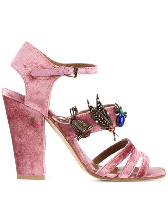 metal women sandals leather velvet purple pink shoes