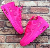 shoes,pink,dope,sneakers,air max,nike,swag,neon,nike air max 90,hot pink. nike airmax 90 hyperfuse,nike shoes,nike air