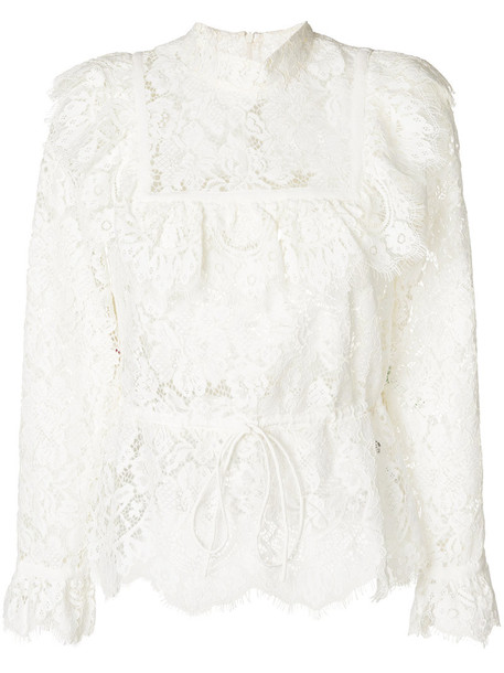 Ganni blouse women lace white cotton top