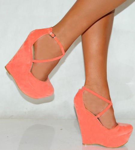 LADIES STRAPPY WEDGES SANDALS PLATFORMS HIGH HEELS COURT SHOES FAUX SUEDE BRIGHT | Amazing Shoes UK