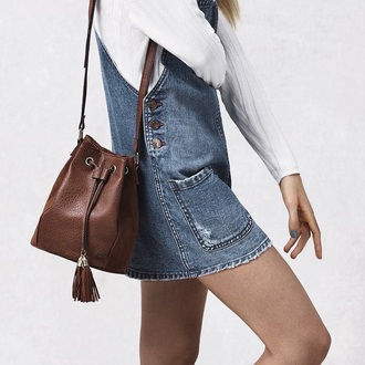 dress mini dress denim dress denim bucket bag brown leather bag denim overalls