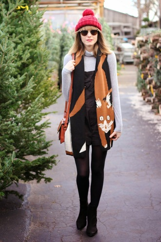 blogger sunglasses shoes scarf steffy's pros and cons overalls fox pom pom beanie turtleneck