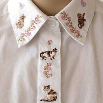 blouse emboss shirt cute kawaii kawaii accessory kawaii shirt kawaii outfit instagram tumblr tumbrl outfits cats collar pink white