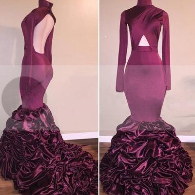Natural Formal Dress Hot Sale Full sleeve Court Train Mermaid Cascading Zipper High Neck Taffeta Dress