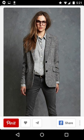 jacket grey jacket gray jacket slim jeans classy chic office outfits