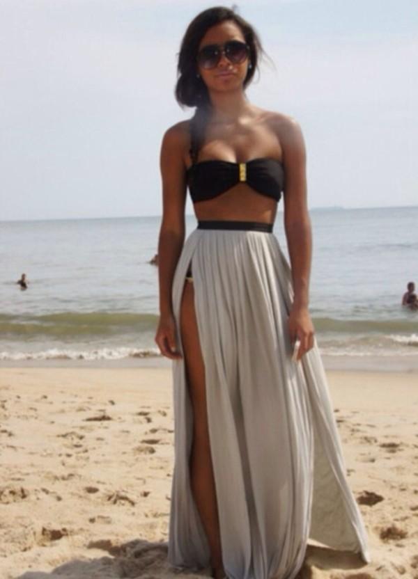 skirt long skirt beige skirt black swimwear high waisted skirt