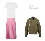 jacket,pink,pink skirt,white sneakers,bomber jacket,khaki,khaki bomber jacket,patch,white t-shirt,pleated skirt,outfit,topshop,vans