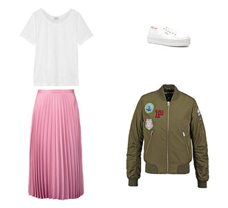 jacket pink pink skirt white sneakers bomber jacket khaki khaki bomber jacket patch white t-shirt pleated skirt outfit topshop vans