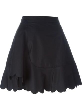 skirt women scalloped cotton black
