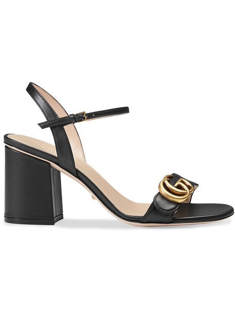 gucci heel women leather black shoes
