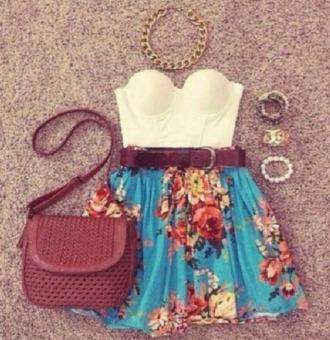 skirt floral floralskirt blue skirt blouse top floral skirt belt bracelets bag necklace jewels