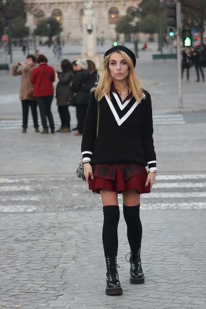 the black effect blogger skater skirt school girl soft grunge