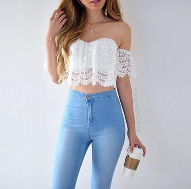 42dd4d55aff top, lace, white, crop tops, off the shoulder, cute, boho, festival ...