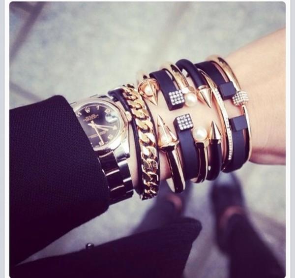 jewels black bracelets jewels diamonds