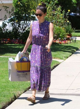 dress midi dress summer dress rachel bilson sandals sunglasses purple purple dress