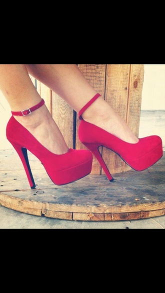 shoes style heels heels colorful fashion high heels redheels red red high heels high heels red dress formal homecoming long buckle covered toe thin strip felt suade