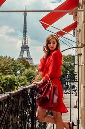 vogue haus,blogger,dress,bag,jewels,red dress