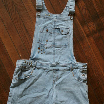 Womens 90s Beaded Grunge Denim Bib Overall Shorts/ Womens Shortalls /  Overall Shorts on Wanelo