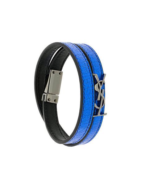Saint Laurent women leather blue jewels