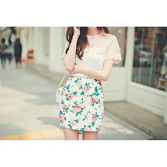 skirt floral skirt lace shirt