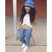 pants,joggers,bucket hat,curly hair,nike air force 1,pretty,hipster,hat