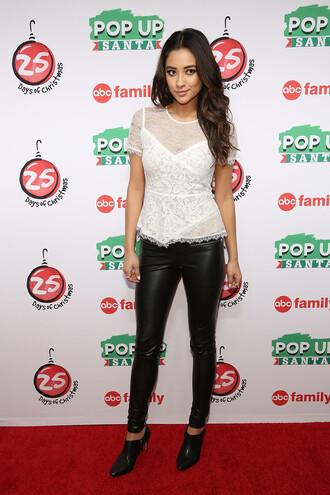 top blouse shay mitchell white top lace ankle boots shoes