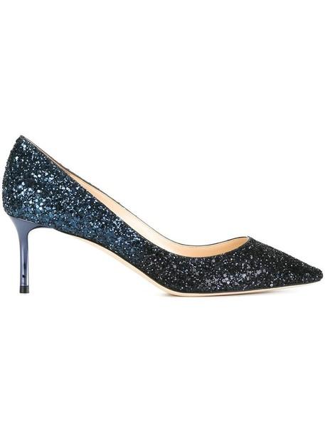 Jimmy Choo women pumps leather blue shoes