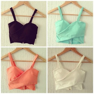 top crop crop tops mint orange salmon black white pretty short t-shirt shirt ulzzang