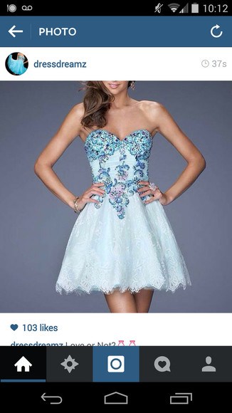 pastel blue dress bedazzled beautiful details