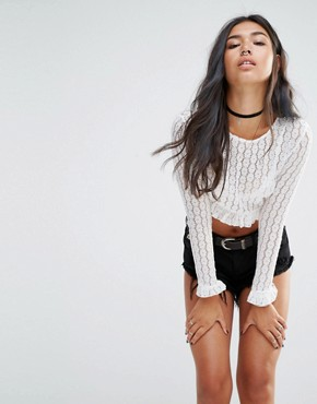 Motel Long Sleeve Crop Top With Ruffles In Lace Floral at asos.com