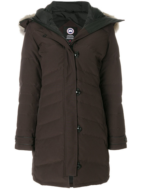 canada goose coat fur women cotton brown