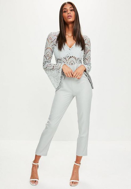 Missguided Grey Flared Sleeve Lace Top Romper