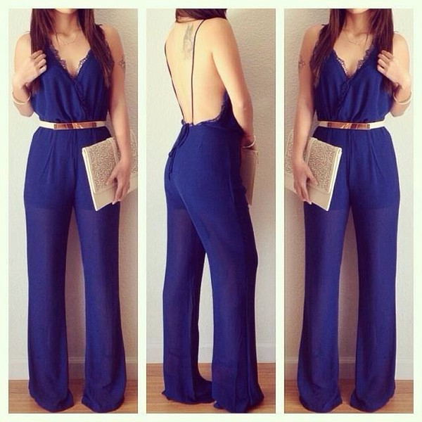 jumpsuit dark blue classy night sun summer outfits bag belt