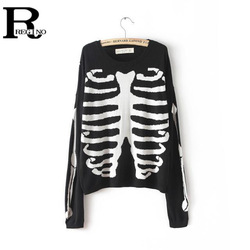 Online shop regino 2015 spring/autumn fashion women clothes casual black long sleeve skeleton print knitted plus size loose pullover sweater