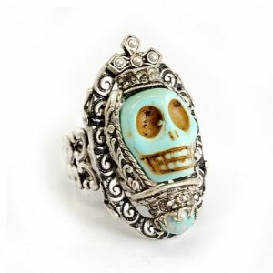 Designer Jewellery - Ollipop Turquoise Gothic Skull Adjustable Ring: Amazon.co.uk: Jewellery