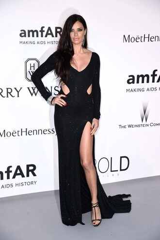 dress gown cut-out adriana lima cannes sandals slit dress black dress shoes