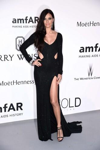 dress gown cut-out adriana lima cannes sandals slit dress black dress