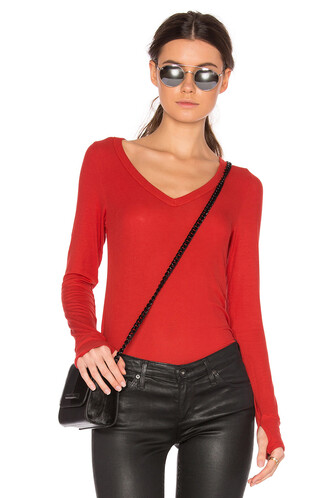 long v neck red top